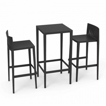 Vondom Spritz outdoor set with table and 2 black stools, modern design