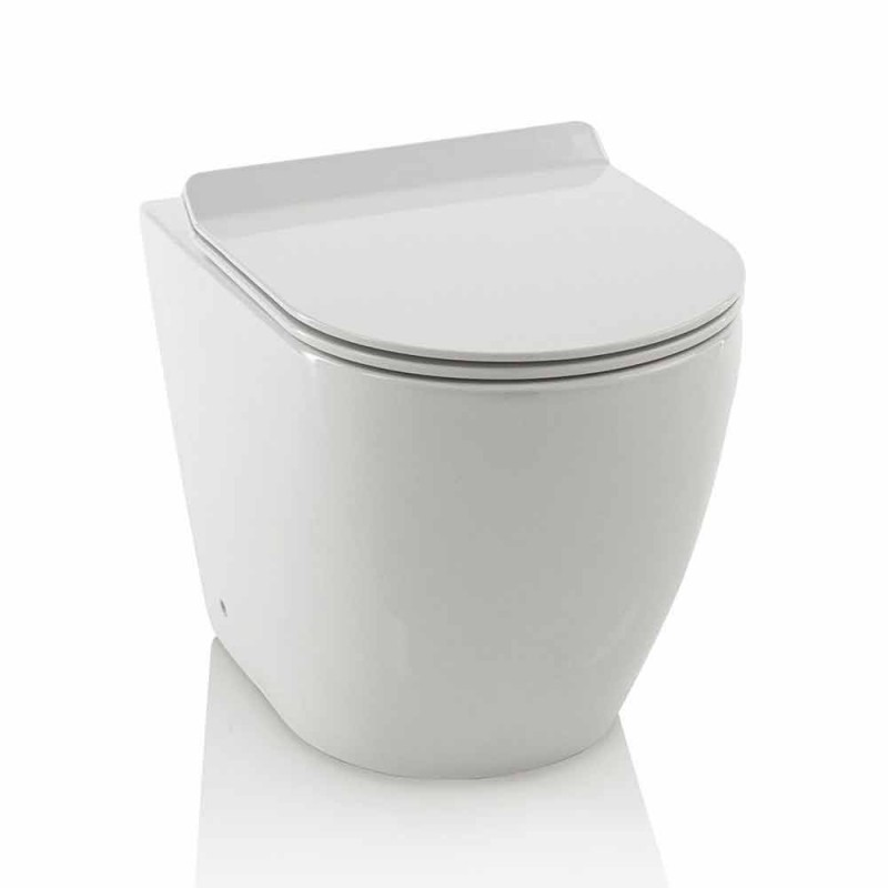 Flush-to-the-wall Ceramic Water Toilet with Modern Italian Design Toilet Seat - Enzu